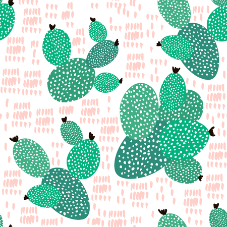 Illustration pour Seamless pattern with cactuses and hand drawn textures.Perfect for fabric,textile. Creative Vector background - image libre de droit