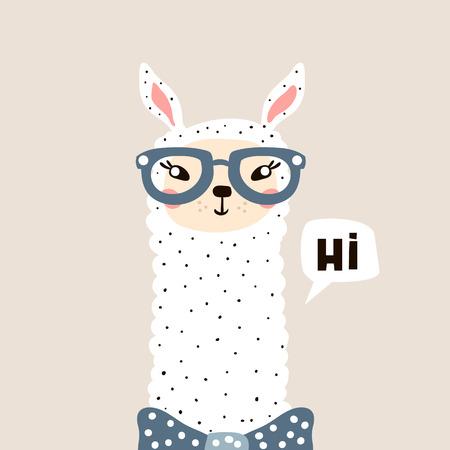 Ilustración de Cute Lama face. Childish print for fabric, t-shirt, poster, card, baby shower. Vector Illustrtion - Imagen libre de derechos
