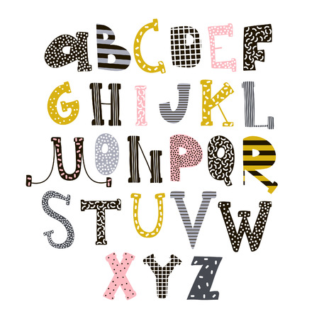 Illustration pour Abstract stylish alphabet . Creative Kids font. Great for education, home decor. It Be used for funny t-shirt quotes,poster,cards and kids fashion prints. Vector Illustration - image libre de droit
