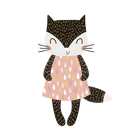 Illustration pour Cute cartoon cat girl in scandinavian style. Childish print for nursery, kids apparel,poster, postcard. Vector Illustration - image libre de droit