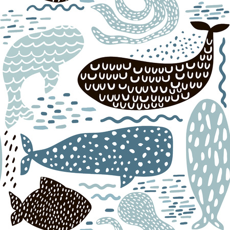 Illustration for Seamless pattern with sea animal fur-seal,whale, octopus, fish. Childish texture for fabric, textile in pastel colors. Vector background - Royalty Free Image