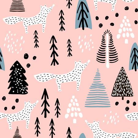 Ilustración de Seamless winter pattern with fox, tree, and ink drawn elements. Creative christmas background. Vector Illustration - Imagen libre de derechos