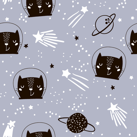 Illustration pour Seamless childish pattern with cute cats astronauts. Creative nursery background. Perfect for kids design, fabric, wrapping, wallpaper, textile, apparel - image libre de droit