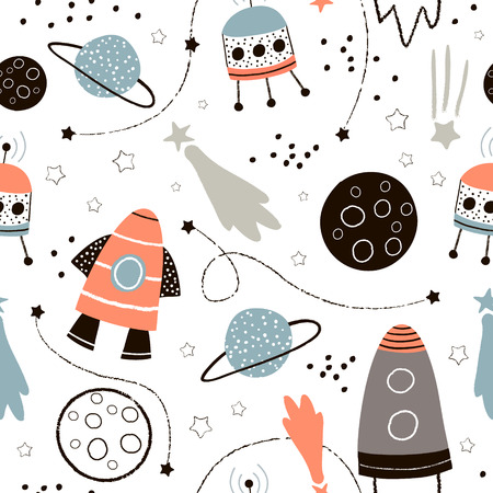 Illustration pour Cute hand drawn space pattern. - image libre de droit