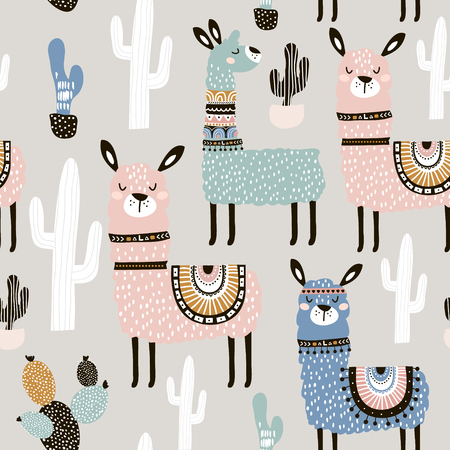Illustration pour Seamless pattern with llama, cactus and hand drawn elements. Creative childish texture. Great for fabric, textile. - image libre de droit