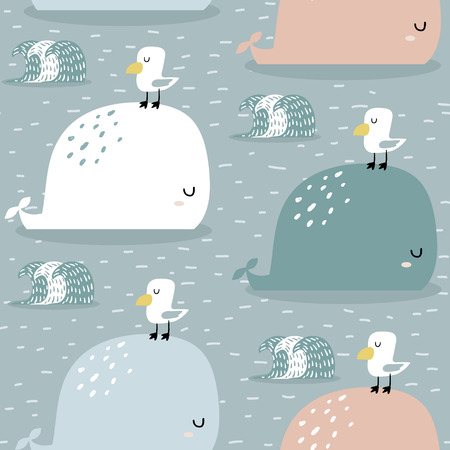 Illustration pour Seamless pattern with whale and gull. Childish texture for fabric, textile, apparel. - image libre de droit
