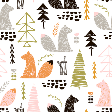 Illustration for Seamless pattern with squirrel, trees. Creative woodland height detailed background. Perfect for kids apparel, fabric, textile, nursery decoration, wrapping paper. - Royalty Free Image