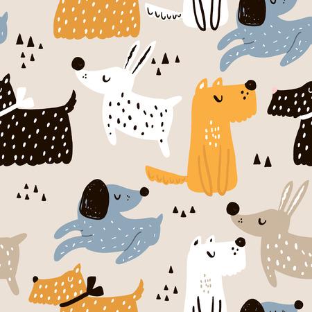 Ilustración de Childish seamless pattern with hand drawn dogs. Trendy Scandinavian vector background. Perfect for kids apparel, fabric, textile, nursery decoration, wrapping paper. - Imagen libre de derechos