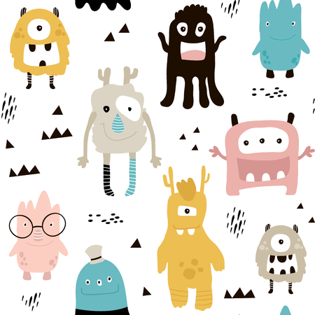 Illustration pour Childish seamless pattern with cute monsters. Trendy Scandinavian vector background. Perfect for kids apparel, fabric, textile, nursery decoration, wrapping paper. - image libre de droit