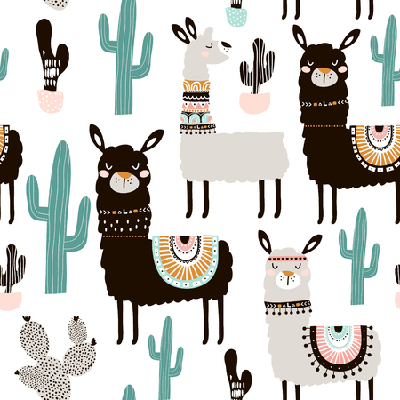 Foto de Seamless pattern with llama, cactus and hand drawn elements. Creative childish texture. Great for fabric, textile. - Imagen libre de derechos