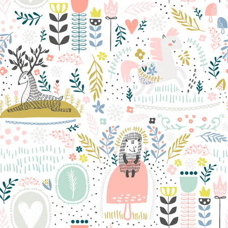 Illustration pour Seamless woodland pattern. Creative height detailed background. Perfect for kids apparel, fabric, textile, nursery decoration, wrapping paper. - image libre de droit