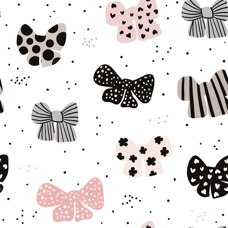 Illustration for Seamless hand drawn pattern with bows. Fashion trendy texture.Great for fabric and textile. Vector Illustration - Royalty Free Image