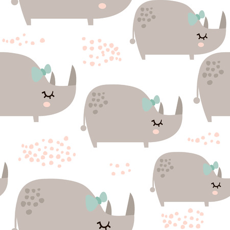Ilustración de Seamless pattern with cute rhinoceros girls in scandinavian style. Creative vector childish background for kids fabric, textile,wrapping, apparel - Imagen libre de derechos
