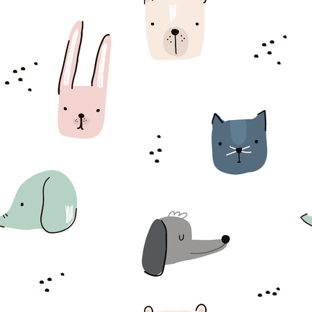 Illustration pour Seamless pattern with hand drawn animal faces. Creative childish background. Perfect for kids apparel,fabric, textile, nursery decoration,wrapping paper.Vector Illustration - image libre de droit