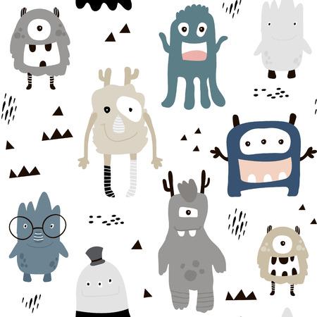 Illustration pour Childish seamless pattern with cute boys monsters. - image libre de droit