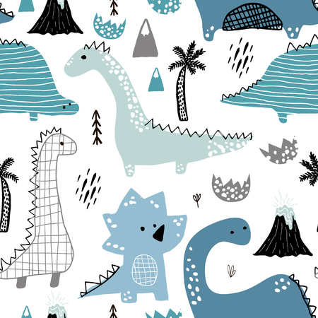 Illustration pour Childish seamless pattern with hand drawn dino in scandinavian style. Creative vector childish background for fabric, textile - image libre de droit