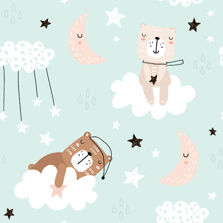 Photo for Seamless childish pattern with cute bears on clouds, moon, stars. Creative scandinavian style kids texture for fabric, wrapping, textile, wallpaper, apparel. Vector illustration - Royalty Free Image