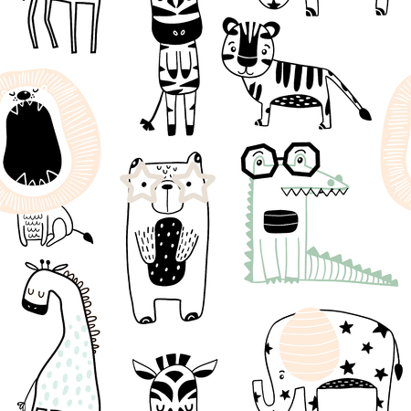 Ilustración de Seamless childish pattern with cute animals in black and white style. Creative scandinavian kids texture for fabric, wrapping, textile, wallpaper, apparel. Vector illustration - Imagen libre de derechos