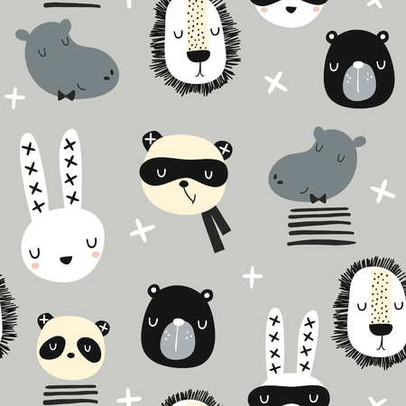 Illustration pour Seamless childish pattern with stylish monochrome animals . Creative scandinavian kids texture for fabric, wrapping, textile, wallpaper, apparel. Vector illustration - image libre de droit