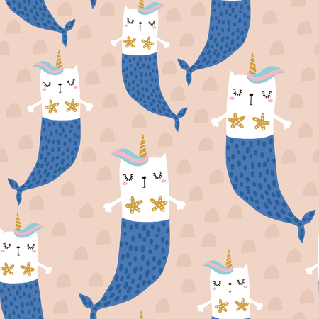 Illustration for Magic cat mermaid with horn. Seamless childish pattern for apparel, fabric, textile.Vector illustration - Royalty Free Image