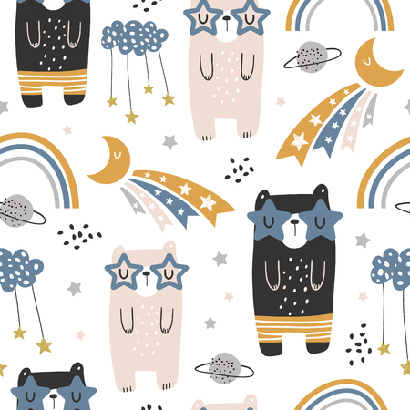 Illustration pour Seamless childish pattern with cute bears, rainbow, stars, moon. Creative scandinavian kids texture for fabric, wrapping, textile, wallpaper, apparel. Vector illustration - image libre de droit