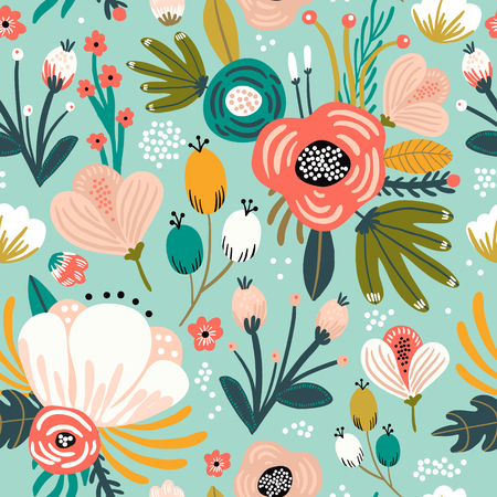 Photo for Seamless pattern with flowers,palm branch, leaves. Creative floral texture. Great for fabric, textile Vector Illustration - Royalty Free Image