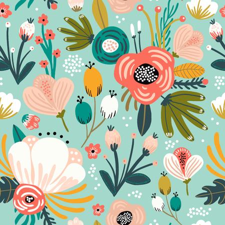 Foto de Seamless pattern with flowers,palm branch, leaves. Creative floral texture. Great for fabric, textile Vector Illustration - Imagen libre de derechos