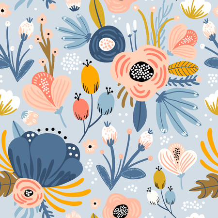 Illustration for Seamless pattern with flowers,palm branch, leaves. Creative floral texture. Great for fabric, textile Vector Illustration - Royalty Free Image