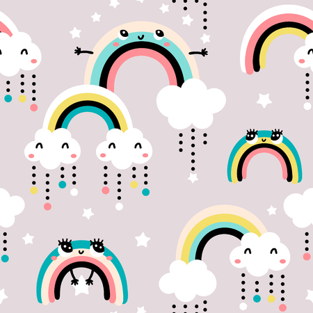 Ilustración de Seamless childish pattern with cute rainbow, stars, clouds.Creative scandinavian kids texture for fabric, wrapping, textile, wallpaper, apparel. Vector illustration - Imagen libre de derechos