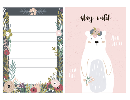 Illustration pour Set of greeting cards with cute animal and forest elements in pastel colors. Floral postcard, invitation and children s party. Vector Illustration - image libre de droit