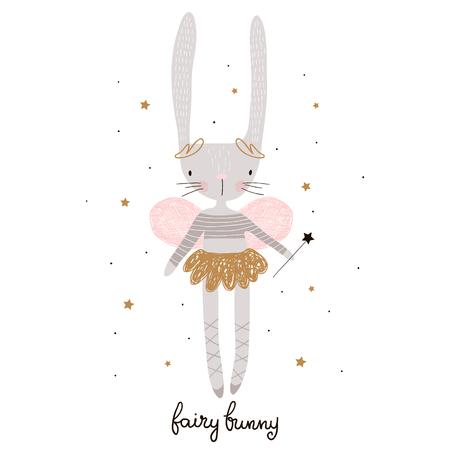 Ilustración de Cute cartoon bunny fairy. Rabbit bellerina with wings Childish print for nursery, kids apparel,poster, postcard. Vector Illustration - Imagen libre de derechos