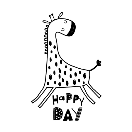 Illustration pour Cute hand drawn giraffe in black and white style. Cartoon vector illustration in scandinavian style - image libre de droit