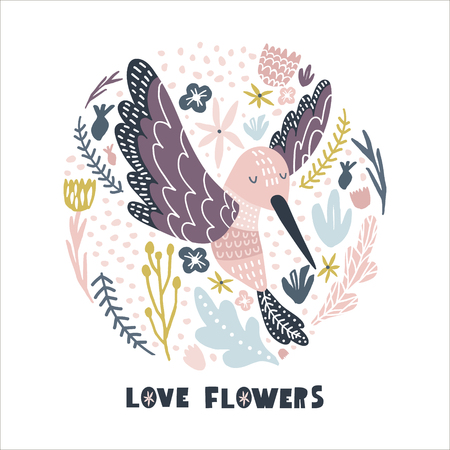 Ilustración de Floral circle with hummingbird . Childish print for nursery, kids apparel,poster, postcard. Vector Illustration - Imagen libre de derechos