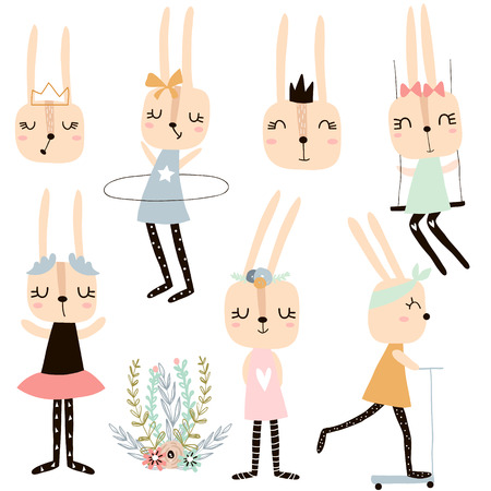 Illustration for Set of cute bunny girl charachters. Vector rabbit collection - Royalty Free Image