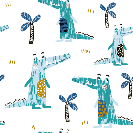 Illustration for Seamless pattern with creative crocodile and palm trees. Perfect for kids apparel,fabric, textile, nursery decoration,wrapping paper.Vector Illustration - Royalty Free Image