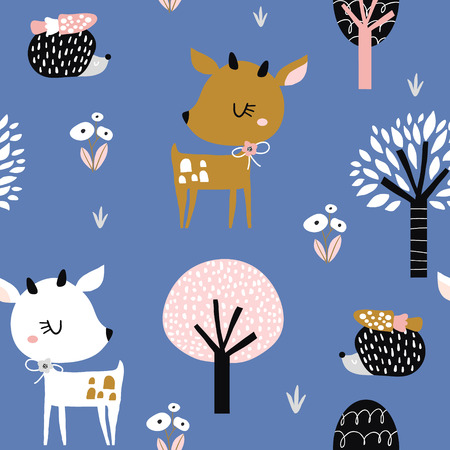 Illustration pour Seamless childish pattern with cute deer, hedgehog in the wood. Creative kids city texture for fabric, wrapping, textile, wallpaper, apparel. Vector illustration - image libre de droit