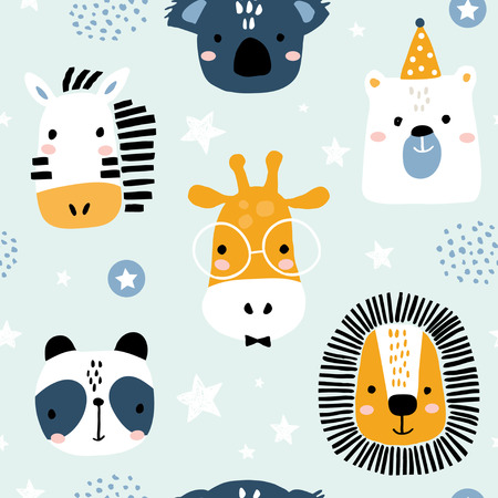 Illustration pour Seamless childish pattern with funny animals faces . Creative scandinavian kids texture for fabric, wrapping, textile, wallpaper, apparel. Vector illustration - image libre de droit