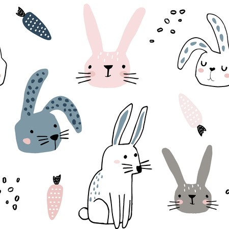 Illustration pour Seamless pattern with cute bunnies and carrots . Creative childish background. Perfect for kids apparel,fabric, textile, nursery decoration,wrapping paper.Vector Illustration - image libre de droit