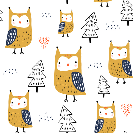 Illustration for Seamless pattern with owls and trees. Creative woodland childish texture. Great for fabric, textile Vector Illustration - Royalty Free Image