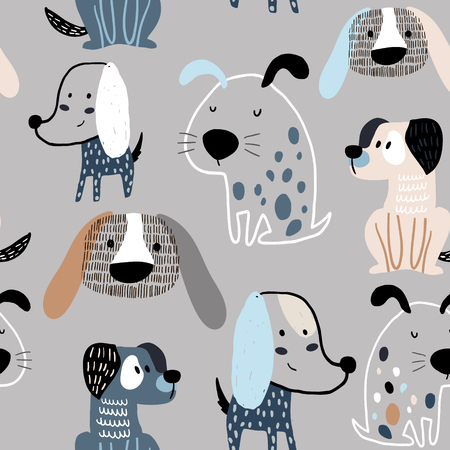 Illustration pour Childish seamless pattern with funny creative dogs. Trendy scandinavian vector background. Perfect for kids apparel,fabric, textile, nursery decoration,wrapping paper - image libre de droit