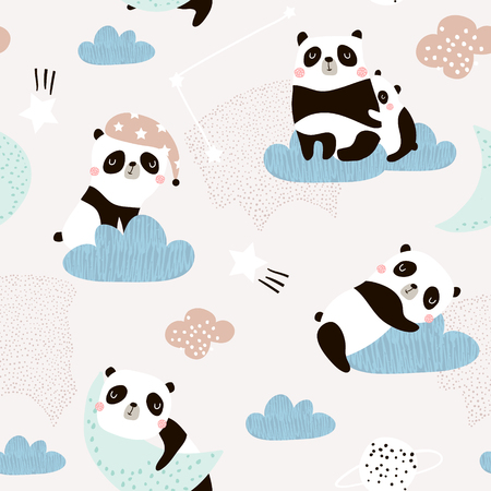 Illustration for Seamless pattern with cute sleeping pandas, moon, rainbows, clouds. Creative good night background. Perfect for kids apparel,fabric, textile, nursery decoration,wrapping paper.Vector Illustration - Royalty Free Image