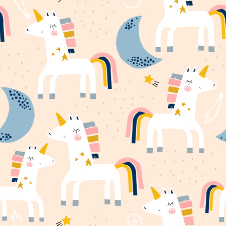 Illustration pour Seamless childish pattern with cute unicorns and moons . Creative scandinavian kids texture for fabric, wrapping, textile, wallpaper, apparel. Vector illustration - image libre de droit