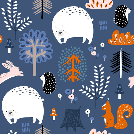 Illustration for Seamless childish pattern with bear, squirrel, hedgehog, bunny in the forest. Creative kids woodland for fabric, wrapping, textile, wallpaper, apparel. Vector illustration - Royalty Free Image