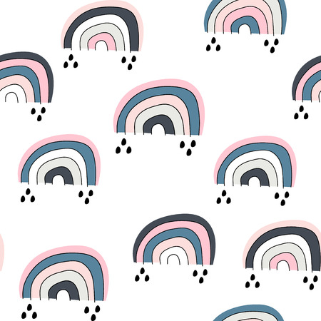 Seamless childish pattern with cute rainbow, .Creative scandinavian kids texture for fabric, wrapping, textile, wallpaper, apparel. Vector illustration