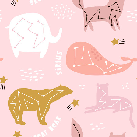 Illustration for Seamless childish pattern with constallations on night starry sky. Creative kids texture for fabric, wrapping, textile, wallpaper, apparel. Vector illustration - Royalty Free Image