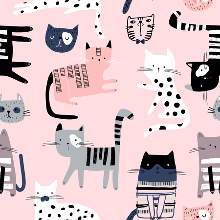 Illustration for Seamless pattern with cute colorful Kittens. Creative childish pink texture. Great for fabric, textile Vector Illustration - Royalty Free Image