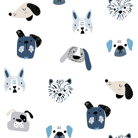 Illustration for Childish seamless pattern with funny creative dog faces. Trendy scandinavian vector background. Perfect for kids apparel,fabric, textile, nursery decoration,wrapping paper - Royalty Free Image