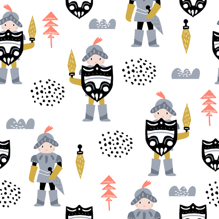 Illustration pour Childish seamless pattern with cute knights in scandinavian style. Creative vector childish background for fabric, textile - image libre de droit