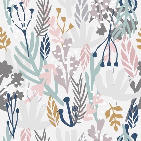 Illustration pour Seamless monotone pattern with flowers,branches, leaves. Creative floral texture. Great for fabric, textile Vector Illustration - image libre de droit