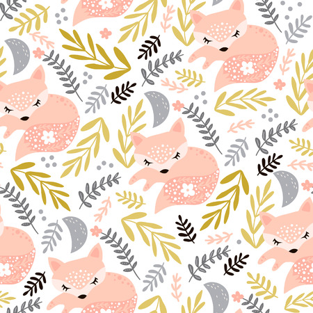 Illustration for Seamless woodland pattern with sleeping fox and floral elements . Creative kids for fabric, wrapping, textile, wallpaper, apparel. Vector illustration - Royalty Free Image